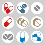 Medical pills icons set. Royalty Free Stock Images