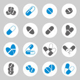 Medical pills icons set. Royalty Free Stock Photos