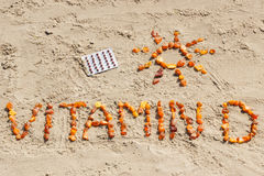 Medical Pills, Inscription Vitamin D And Shape Of Sun On Sand At Beach, Summer Time And Healthy Lifestyle Stock Image