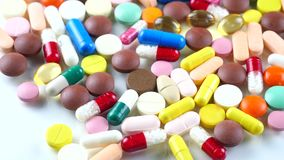 Medical pills. Rotate on the table stock footage