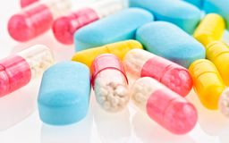 Medical pills and tablets background Stock Image