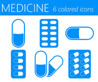 Medical Pills Vector Icons Set Royalty Free Stock Image
