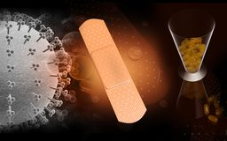 Medical plaster, tablets and influenza virus Royalty Free Stock Images