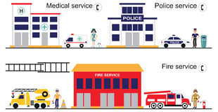 Medical police and fire service. Illustration on white background a police station, fire Department, hospital, emergency vehicles and personnel Stock Image
