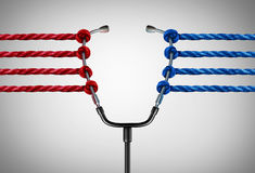 Medical Politics. And health reform challenges or universal healthcare system stress concept as a group of opposing ropes pulling on a doctor stethoscope as a royalty free illustration