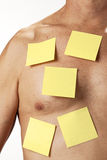 Medical Post It Health Checkup. A male body with many blank post it notes stuck to his chest Stock Photography