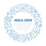 Medical poster template. Vector line icon, illustration of  center, health check up.  equipment mri, cardiogr. Medical poster template. Vector line icon Royalty Free Stock Image