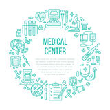 Medical poster template. Vector line icon, illustration of health check up center. Equipment - mri, cardiogram Royalty Free Stock Image