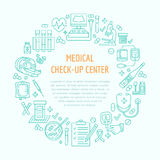 Medical poster template. Vector line icon, illustration of medical center, health check up. Medical equipment mri. Medical poster template. Vector line icon Royalty Free Stock Images