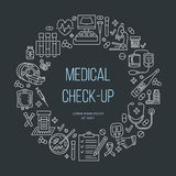 Medical poster template. Vector line icon, medical center, health check up, medical equipment Stock Photos