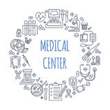Medical poster template. Vector line illustration of medical center, health check up. Medical equipment - mri Royalty Free Stock Photography