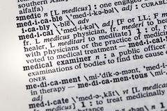 Medical practice treatment medicine dictionary. Definition words health examiner examination stock image