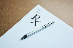 Medical prescription and pen. Stock Photography