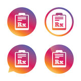 Medical prescription Rx sign icon. Pharmacy. Royalty Free Stock Images