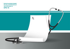 Medical prescription and stethoscope. Health care concept with phonendoscope. Vector realistic illustration. Medical prescription and stethoscope. Health care Stock Images