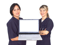 Medical presentation. Doctors with a lap-top on white, space for your messages Stock Image