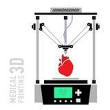 Medical printer for human organs replicated. 3D Bio-printer.Vector. Illustration Royalty Free Stock Images