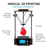 Medical printer for human organs replicated. 3D Bio-printer. Vector. Medical printer for human organs replicated. 3D Bio-printer.Vector illustration Stock Photo