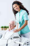 Medical private home care. Image of old male and medical private home care Stock Image