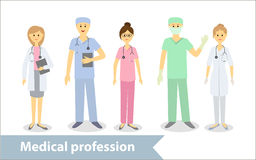 Medical profession. Doctors and medical staff. Set of characters in cartoon style Royalty Free Stock Photos