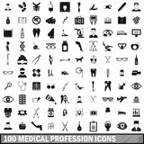 100 medical profession icons set, simple style. 100 medical profession icons set in simple style for any design vector illustration royalty free illustration