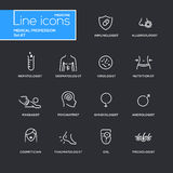 Medical profession simple thin line design icons, pictograms set. With black background. Immunologist, dermatologist, allergologist, traumatologist Royalty Free Stock Photos