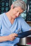 Medical Professional Going Through Document Royalty Free Stock Photography