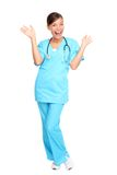 Medical professionals: Nurse excited. Nurse happy excited and joyful. Young woman nurse or doctor cheerful and joyful isolated in full length on white background Royalty Free Stock Image