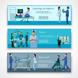 Medical professionals at work banners set. Medical professional 3 flat horizontal banners set  with obstetrician surgeon and newborn baby abstract isolated Royalty Free Stock Images