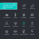 Medical Professions - line design pictograms set Royalty Free Stock Photo