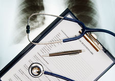 Medical Questionnaire. With stethoscope and Xray photo Stock Image