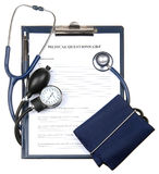 Medical questionnaire in a clipboard isolated Stock Photo