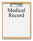 Medical Record. Clipboard showing  Medical Record  on a white background Royalty Free Stock Photo