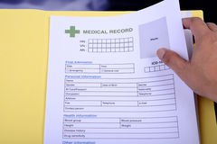 Medical record form. Stock Image