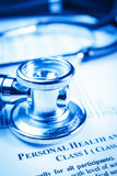 Medical record form with a stethoscope Royalty Free Stock Photo