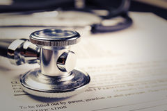 Medical record form with a stethoscope Stock Photo