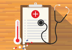 Medical record health in clipboard. Vector flat design Royalty Free Stock Image