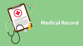 Medical record illustration with paperwork on clip board, a stethoscope, capsules and vitamin tube Royalty Free Stock Images