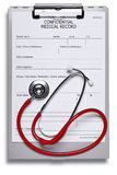 Medical record and stethoscope Stock Image