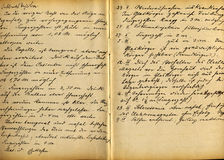 Medical records. Part of old 19th century medical records, eyes hurt, accident at work Royalty Free Stock Photography