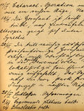 Medical records. Part of old 19th century medical records, cataract royalty free stock images