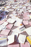 Medical records strewn over the floor Stock Photography