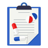 Medical Records, Tablets & Pills Flat Icon stock illustration
