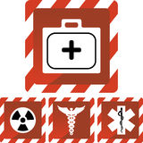 Medical Red Alert Icons Stock Photography
