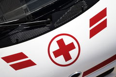 Medical red cross. Ambulance car with medical red cross Royalty Free Stock Images