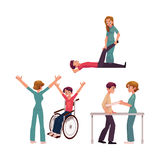 Medical rehabilitation, physical therapy activities, physiotherapist working with patients. Cartoon vector illustration on white background. Medical Royalty Free Stock Photos