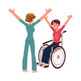 Medical rehabilitation, wheelchair gymnastics Royalty Free Stock Photo