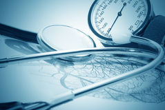 Medical report and sphygmomanometer Royalty Free Stock Photography