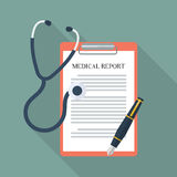 Medical report with stethoscope and pen. Flat style with long shadow Stock Images