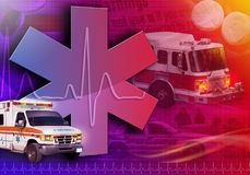 Medical Rescue Ambulance Abstract Photo. An abstract medical rescue collage with an ambulance, firetruck and police car. There is a heart beat pulse in the Royalty Free Stock Images